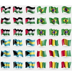 Palestine brazil bahamas guinea set of 36 flags of vector