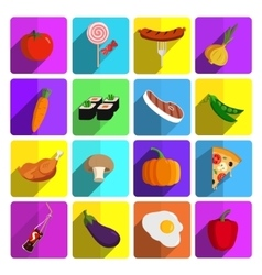 Modern fast food and vegetables icon set vector
