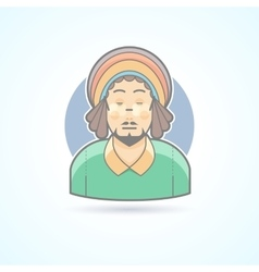 Rastafarian man hippie guy with dreadlocks icon vector