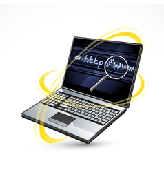 Laptop and internet vector
