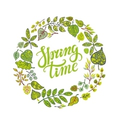 Spring time letteringgreen leaves circle wreath vector