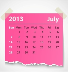 2013 calendar july colorful torn paper vector
