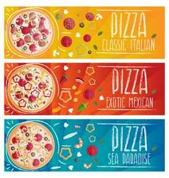 Set of banners for theme pizza with different vector