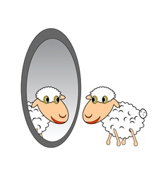 A funny cartoon sheep looking in a mirror vector image vector image