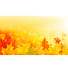 Autumn background with yellow leaves and hand vector image vector image