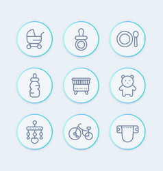 baby line icons set toys crib diaper tricycle vector image