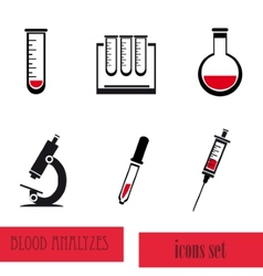 Blood analysis medical icon set vector image vector image