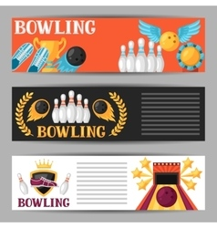 Bowling banners with game objects image for vector