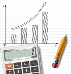 calculator pencil and graph on notebook sheet vector image vector image