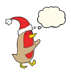 Cartoon christmas robin with thought bubble vector