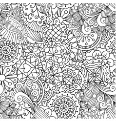 decorative pattern with linear flowers vector image vector image