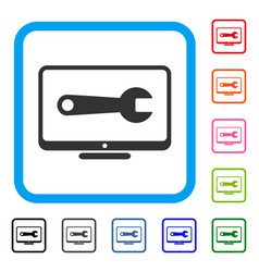Desktop configuration wrench framed icon vector