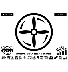 Drone screw rotation flat icon with 2017 bonus vector