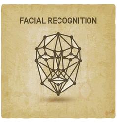 Facial recognition system 3d face vintage vector