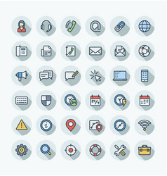 flat color thin line icons set with contact vector image