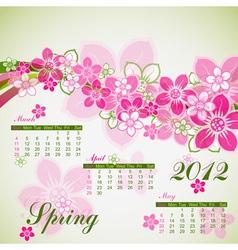 Floral spring calendar 2012 vector