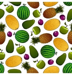 Fresh fruits seamless pattern for food design vector