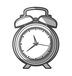 Grayscale silhouette of alarm clock with thick vector