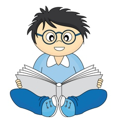 happy child reading vector image