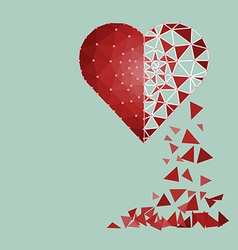 Low polygonal of red heart that crushed to a vector image vector image