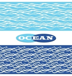 Ocean waves seamless borders vector