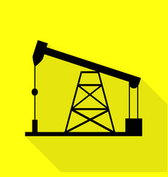 Oil drilling rig sign black icon with flat style vector