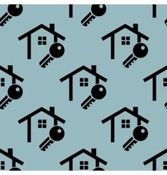 Pale blue house key pattern vector