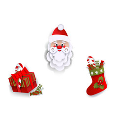 Paper cut santa christmas stocking present box vector