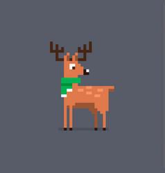 pixel art deer in a scarf vector image
