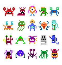 pixel monster set vector image