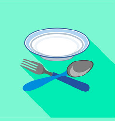 Plate with fork and spoon icon flat style vector