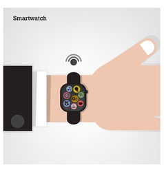Smartwatch on businessman hand vector image