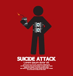 Suicide attack with bomb symbol vector