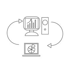Two laptops data exchange icon vector