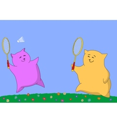 Two pillows playing badminton vector image vector image