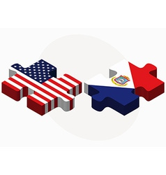 Usa and sint maarten dutch part flags in puzzle vector