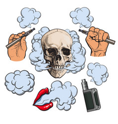 vaping related elements symbols - smoking skull vector image vector image