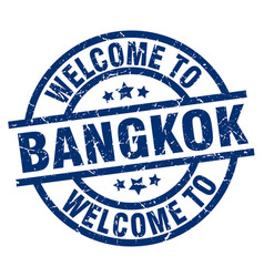 welcome to bangkok blue stamp vector image vector image