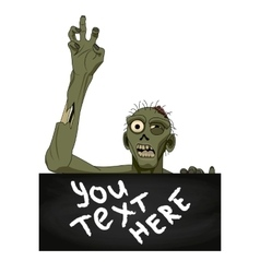 Zombie isolated with banner for you text vector image