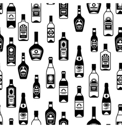 Alcohol drinks seamless pattern bottles for vector