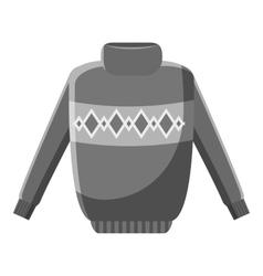 Winter warm jumper icon gray monochrome style vector