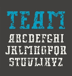 Serif font in sport style with shabby texture vector