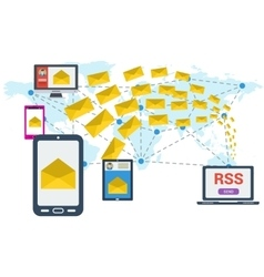 E-mailing rss worldwide vector