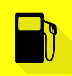 Gas pump sign black icon with flat style shadow vector