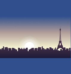 collection of paris scenery at sunrise silhouettes vector image
