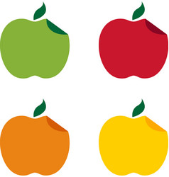 Set of different apples with curved edge design vector