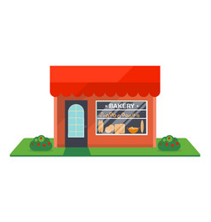 Bakery shop facade isolated icon vector