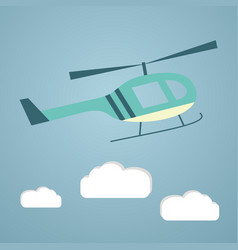 Flat helicopter in the sky vector