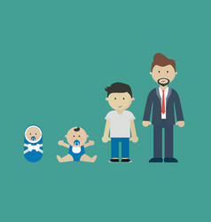 People growing generations characters age adult vector
