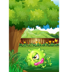A yard with a monster resting under the tree vector